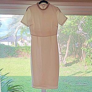 ASOS White Bejeweled Neckline Midi Dress US 4